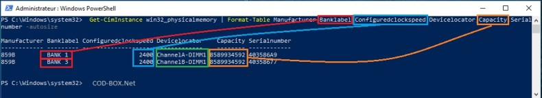 Information sur la RAM avec Powershel, fréquence, Emplacement slot DIMM, fabricant, numéro de série