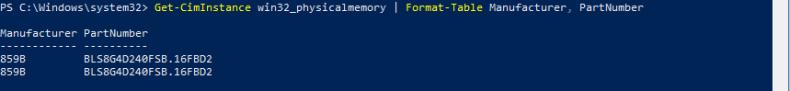 Connaitre fabricante RAM avec PowerShell