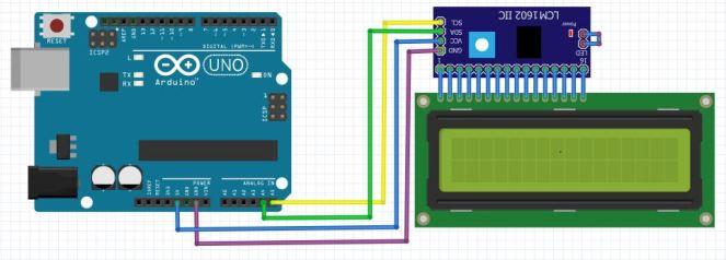 LCM 1602 IIC V1 scheme Arduino UNO