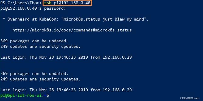 Connexion BananaPi BPI-W2 via SSH