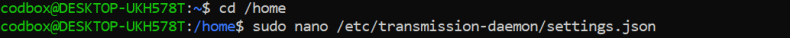 Transmission .json - No such file or directory