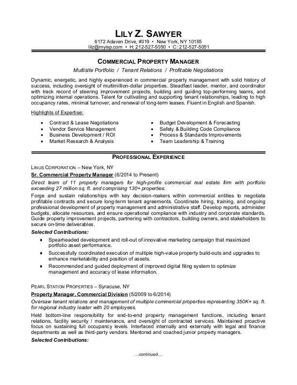 Property Manager Resume Sample Monster Com