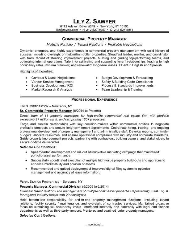 regional property manager resume