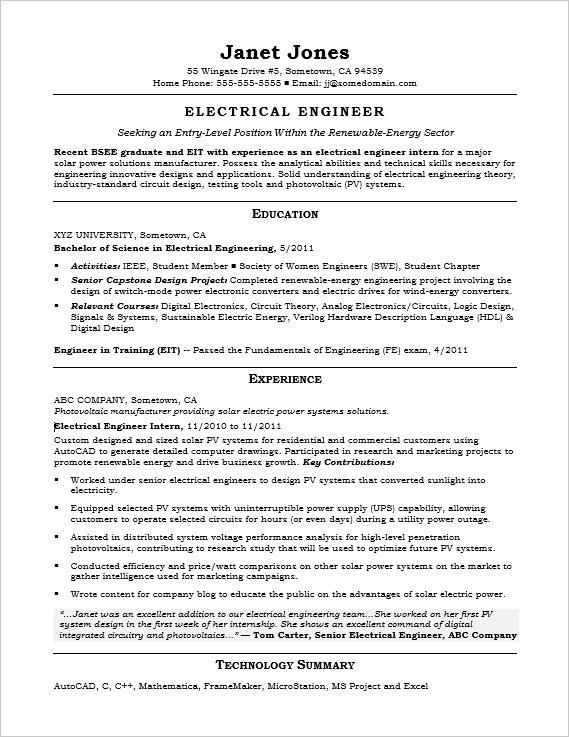 Entry Level Electrical Engineer Sample Resume Monster Com