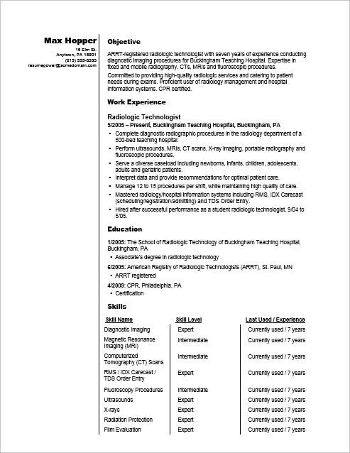 objective on resume examples for mri technologist