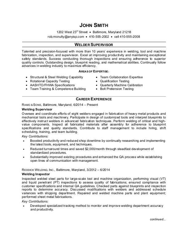 Welder Supervisor Resume Sample  Monstercom