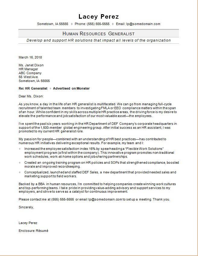 HR Generalist Cover Letter Sample  Monstercom