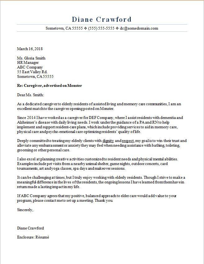 Caregiver Cover Letter Sample Monster Com
