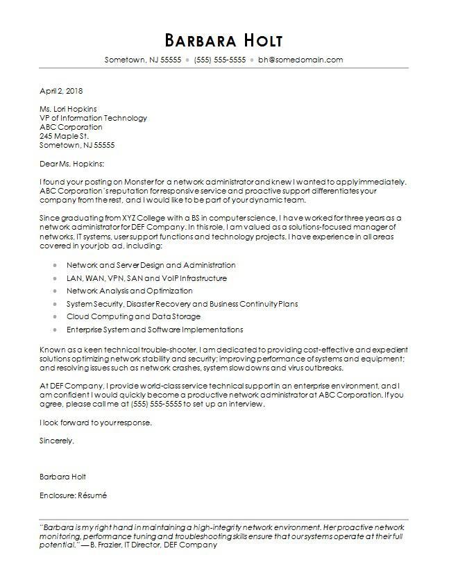 Computer Science Cover Letter Sample  Monstercom