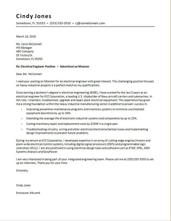 Electrical Engineering Cover Letter Sample  Monstercom
