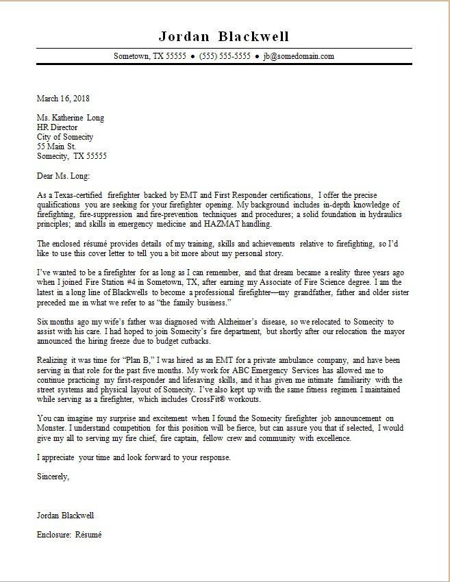 Firefighter Cover Letter Sample Monster Com