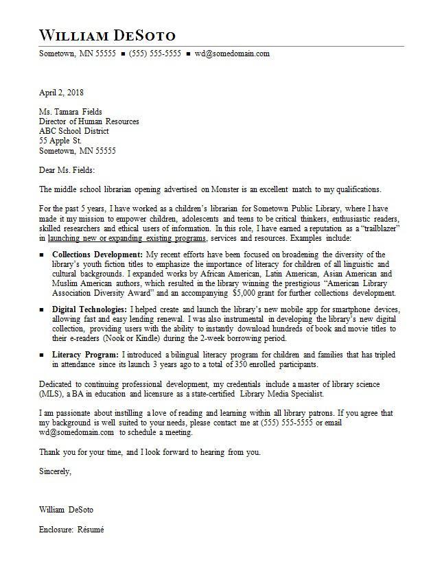 Librarian Cover Letter Sample  Monstercom