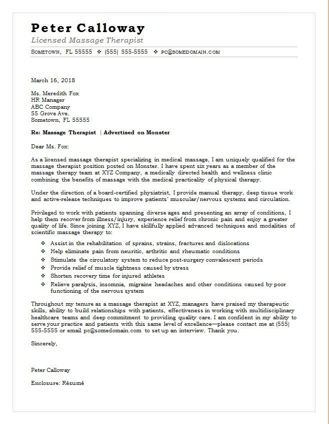 Massage Therapist Cover Letter Sample Monster Com