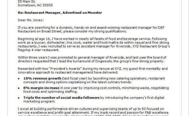 Restaurant Manager Cover Letter Sample Monster