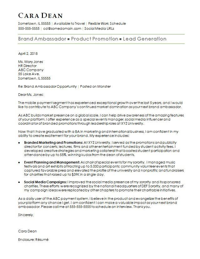 Brand Ambassador Cover Letter Sample Monster Com