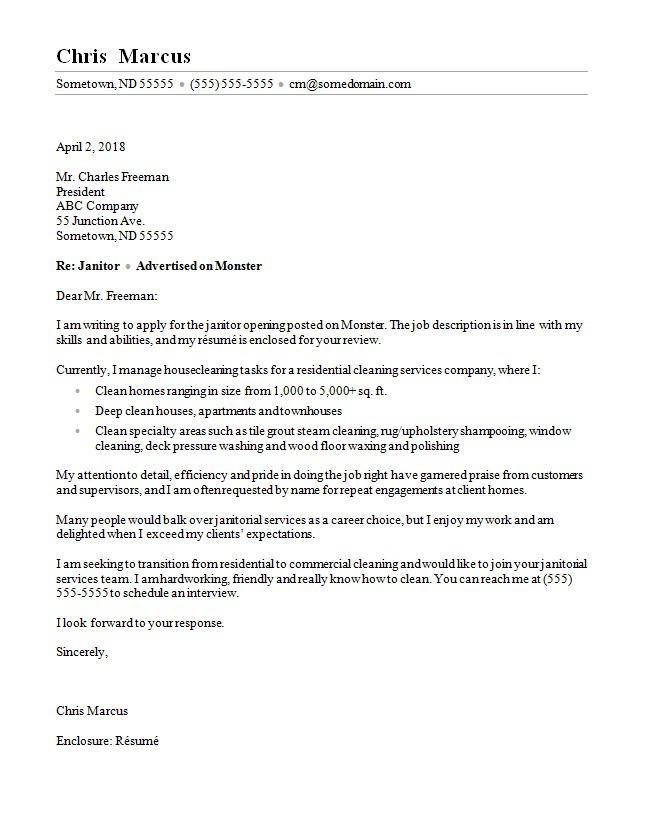Janitor Cover Letter Sample Monster Com