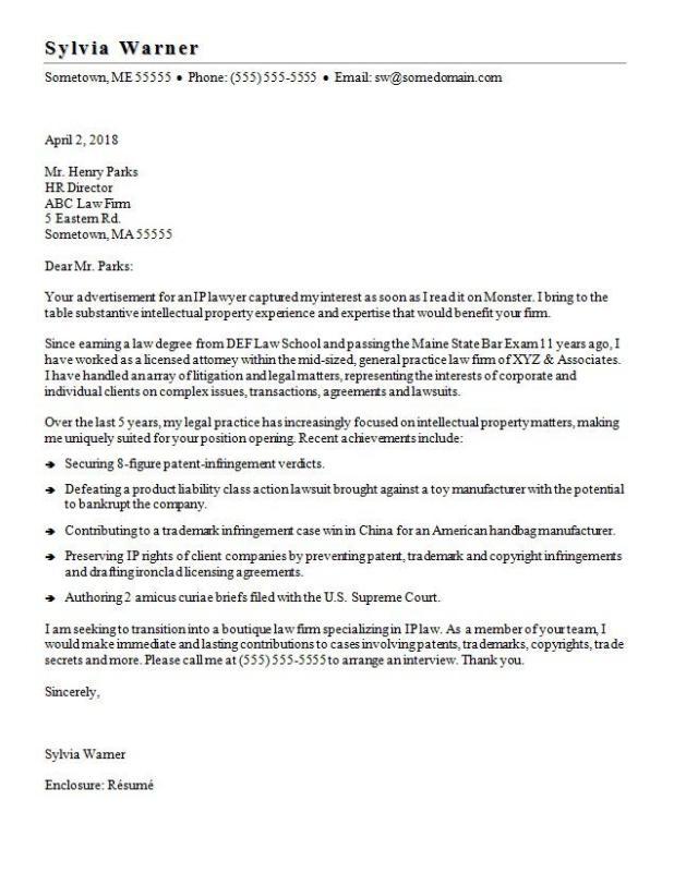 monster com addressing letter
