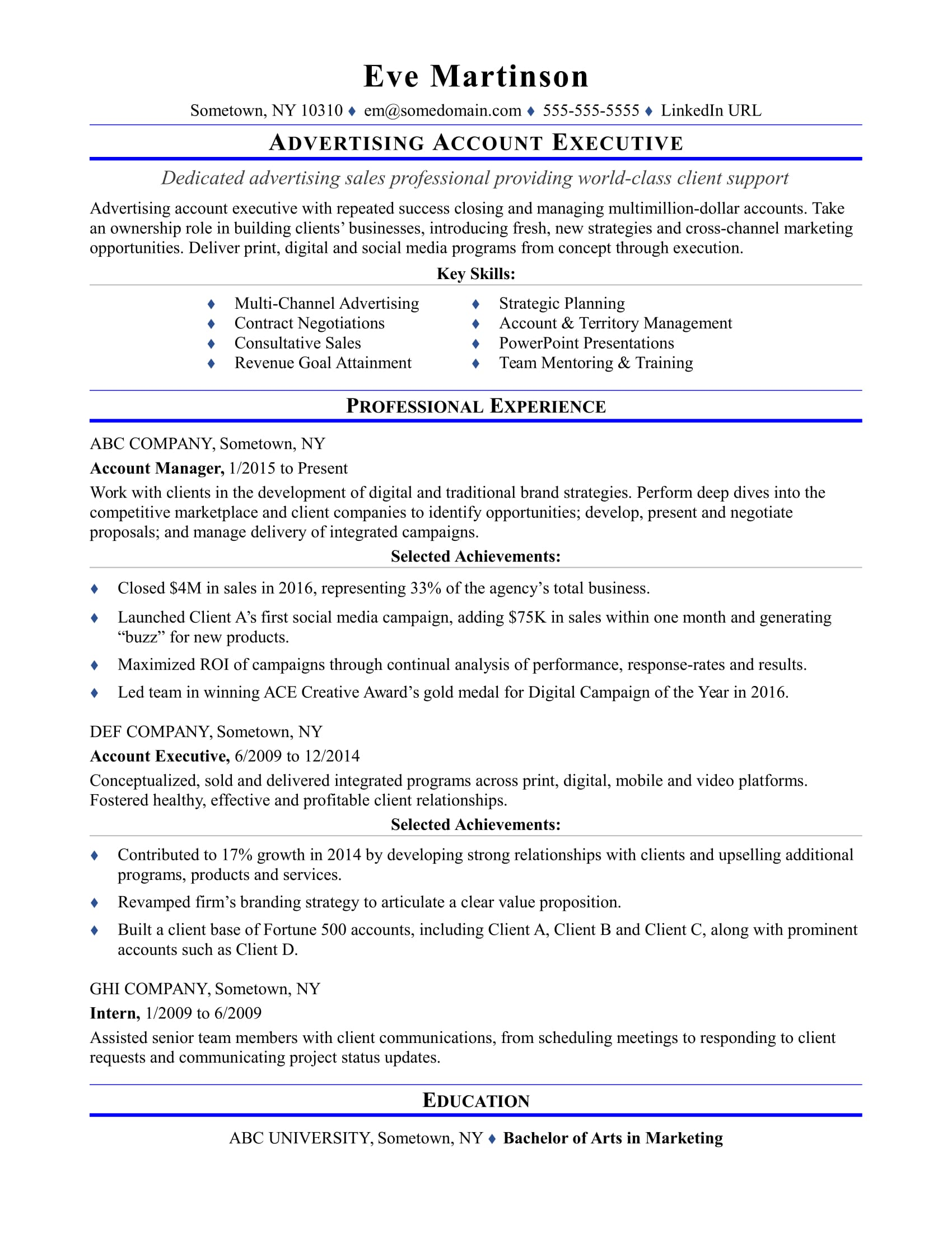 Sales And Marketing Executive Cover Letter Sample Resume For An Advertising Account Executive Monster