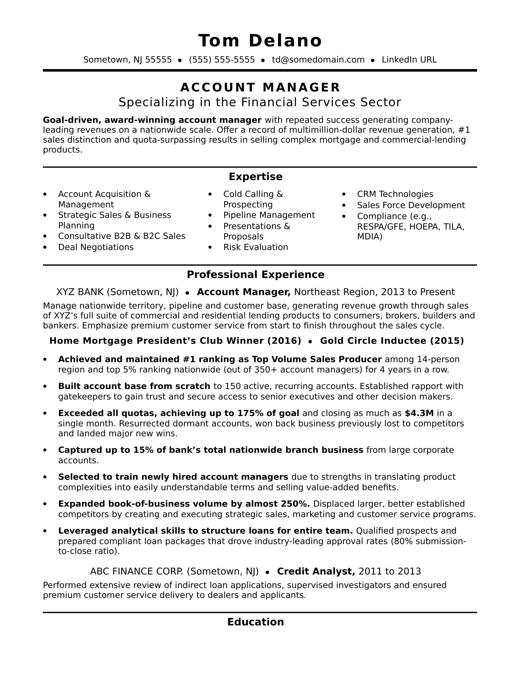 Resume Format For Accounts Manager Account Manager Resume Sample Monster