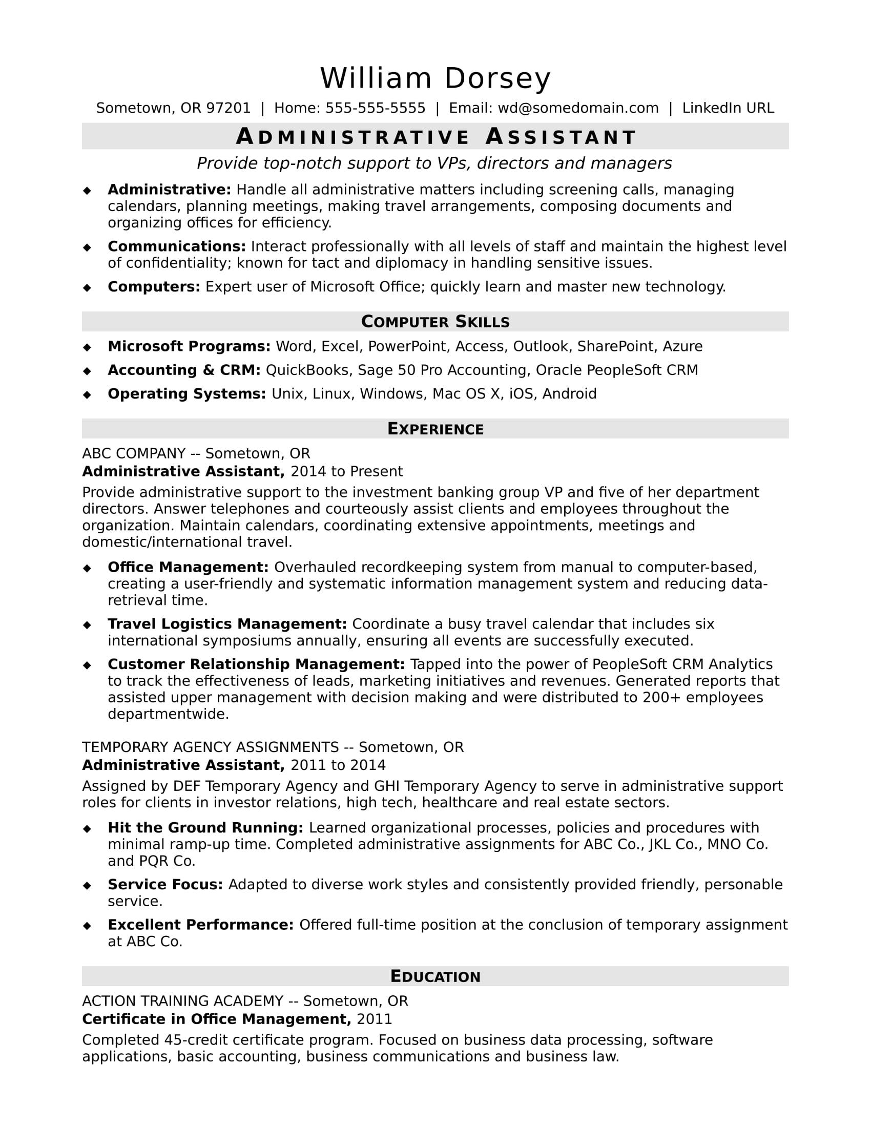 Midlevel Administrative Assistant Resume Sample  Monstercom