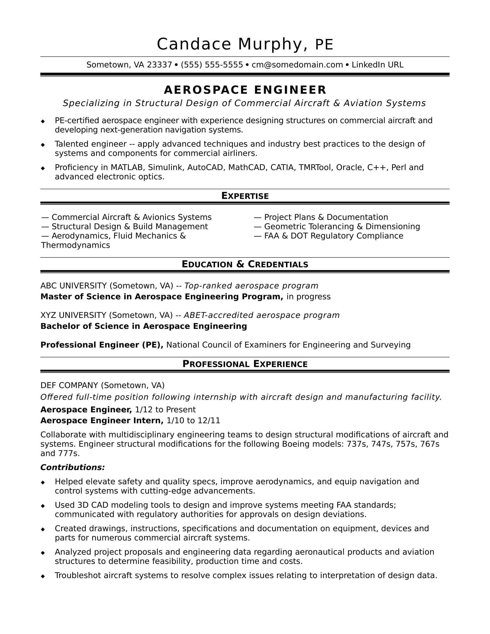 professional chemical engineer resume template