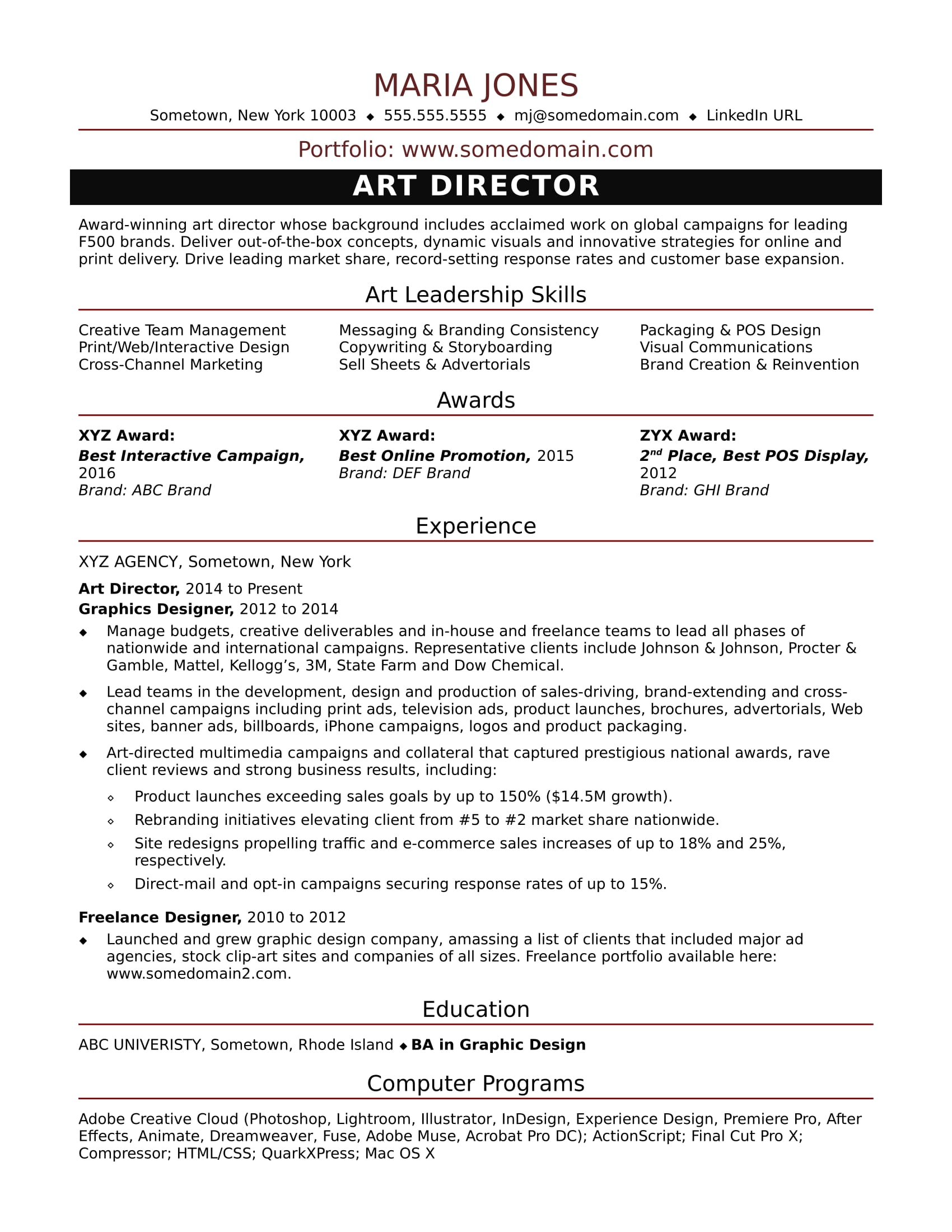 Artist Agent Cover Letter Sample Resume For A Midlevel Art Director Monster