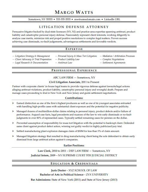 sample legal resumes