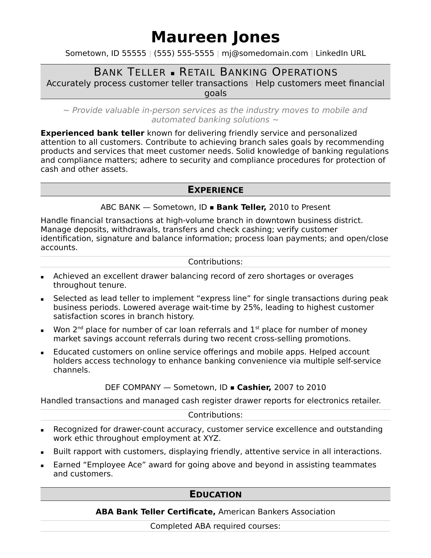 resume sample for bank employee
