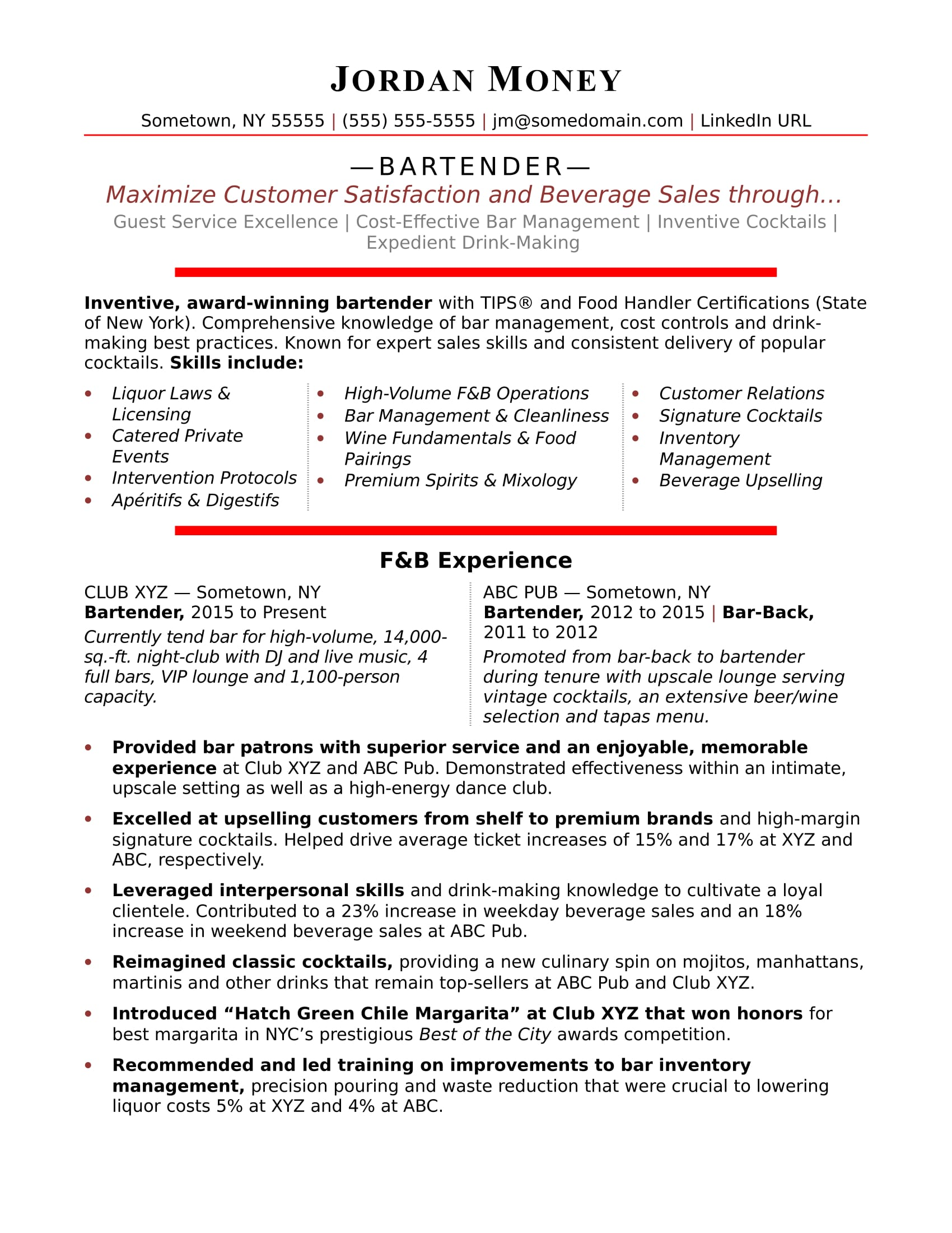 Bartending Resume Examples Bartender Resume Sample Monster