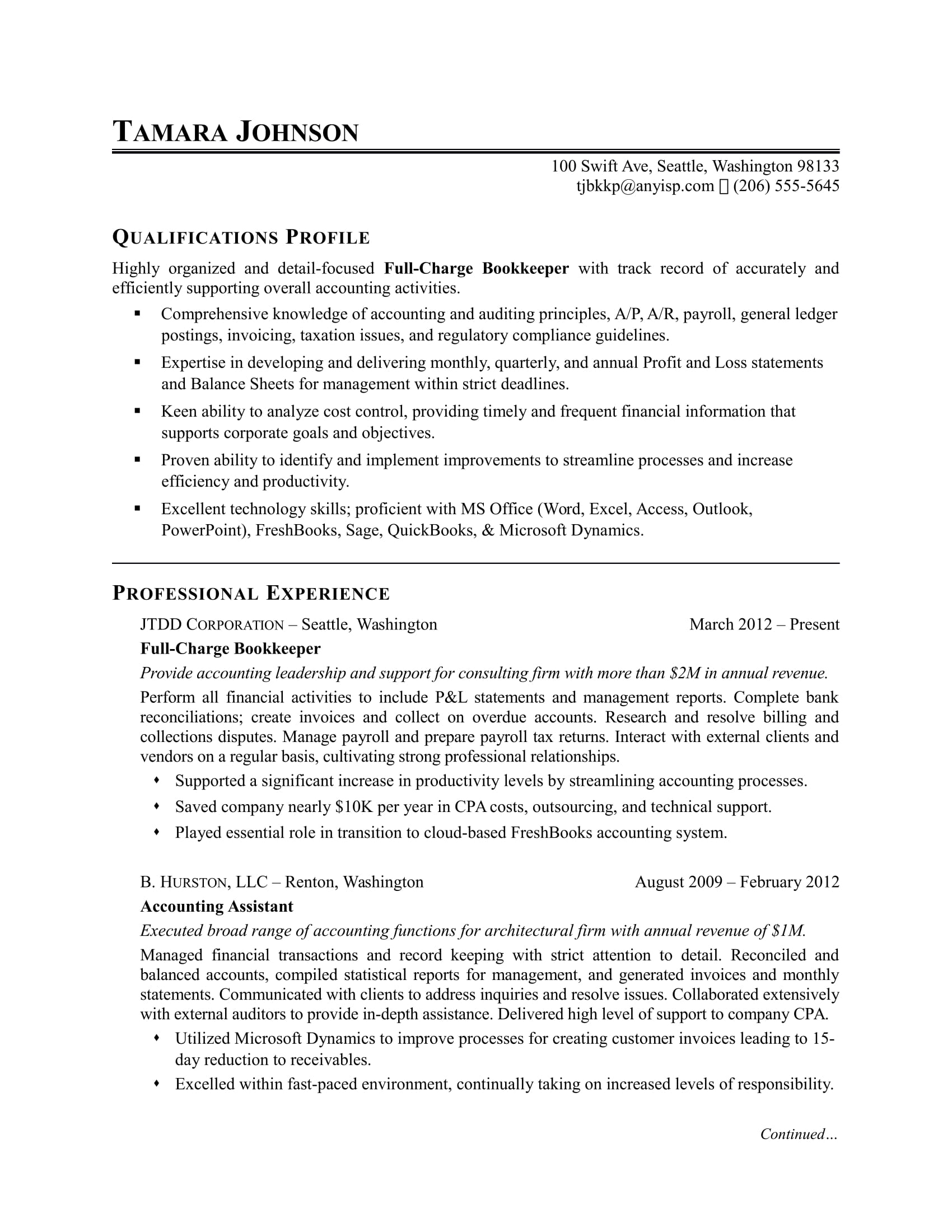 Example Resumes Bookkeeper Resume Sample Monster