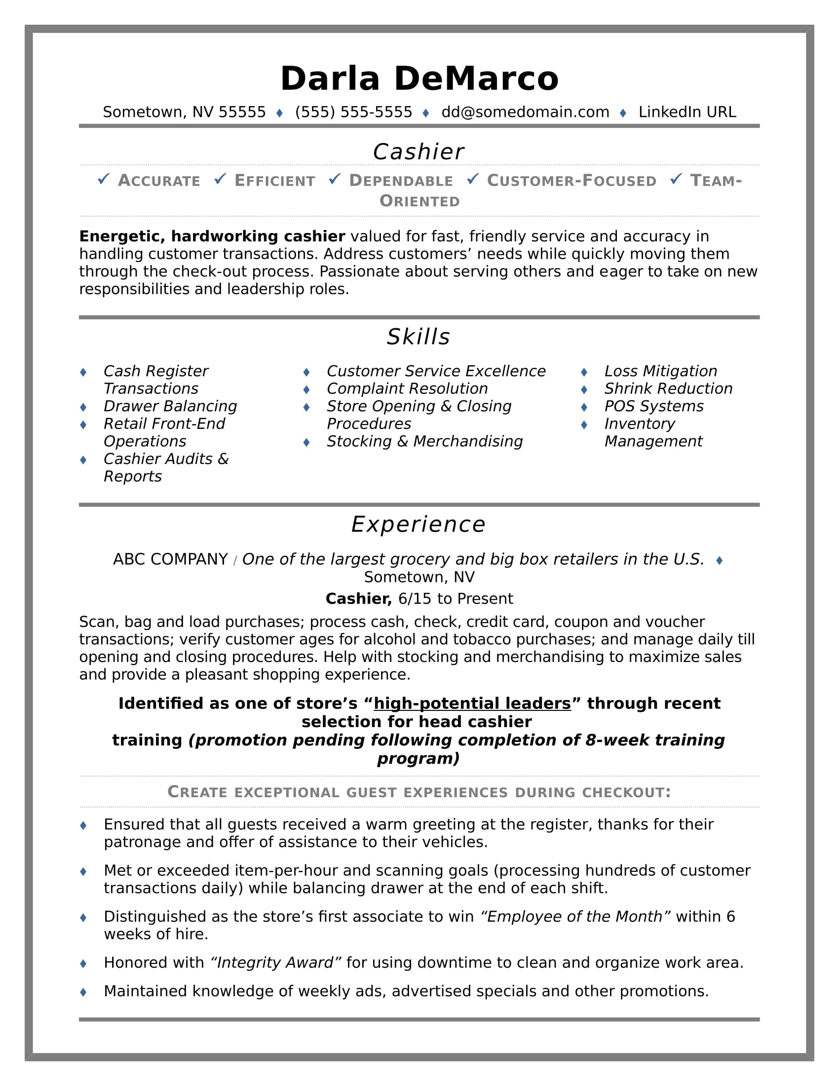Example Resumes Cashier Resume Sample Monster