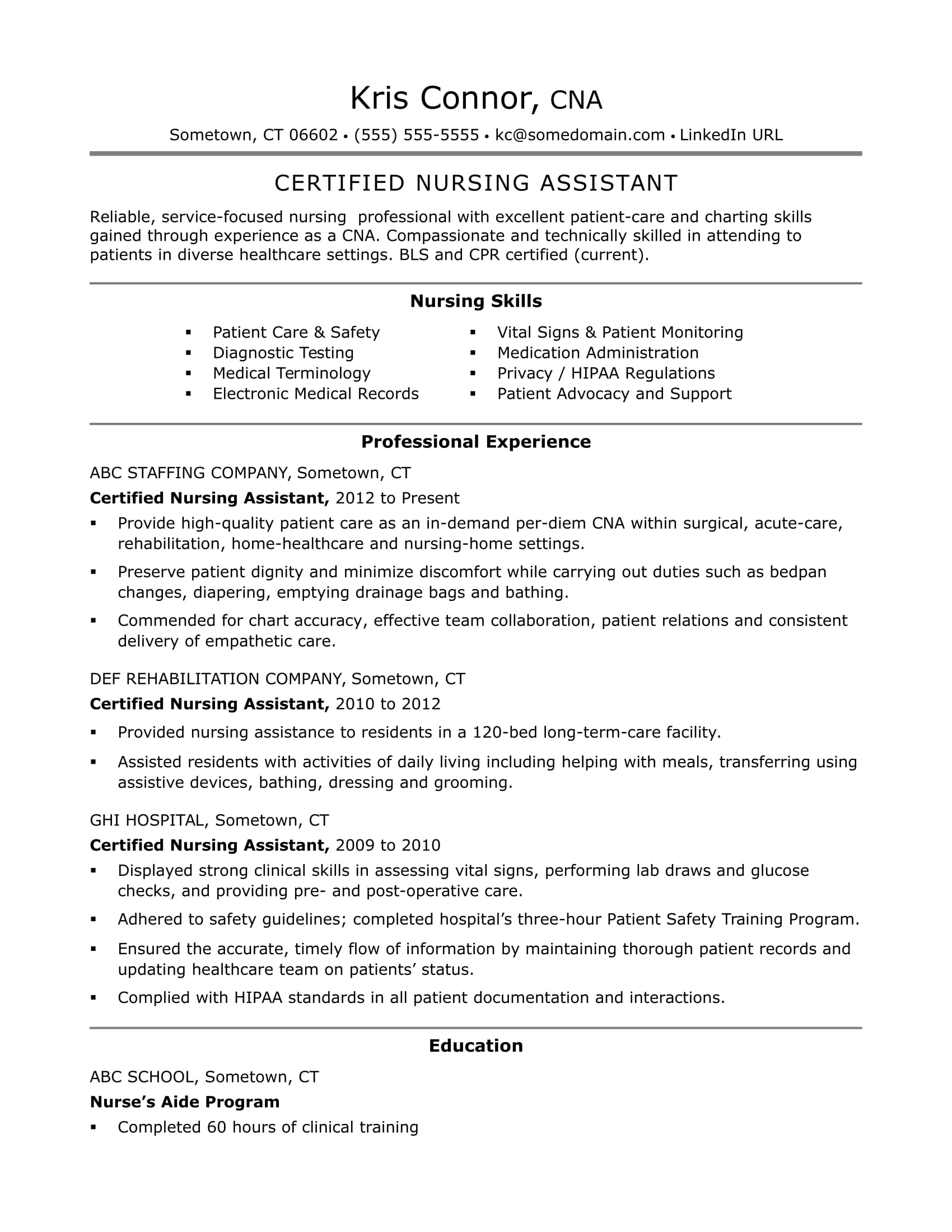Cna Resume Samples Cna Resume Examples Skills For Cnas Monster