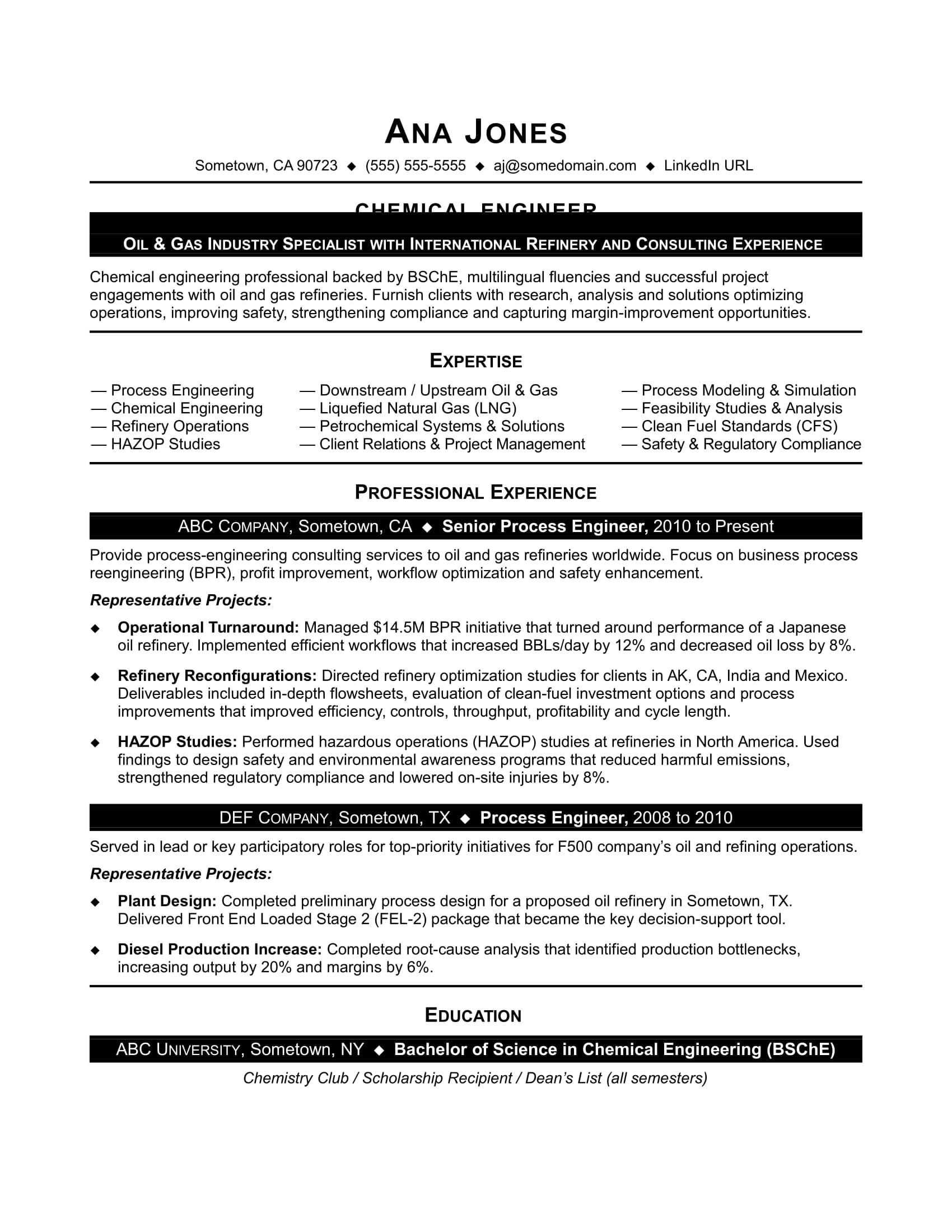 chemical process engineer resume sample pdf