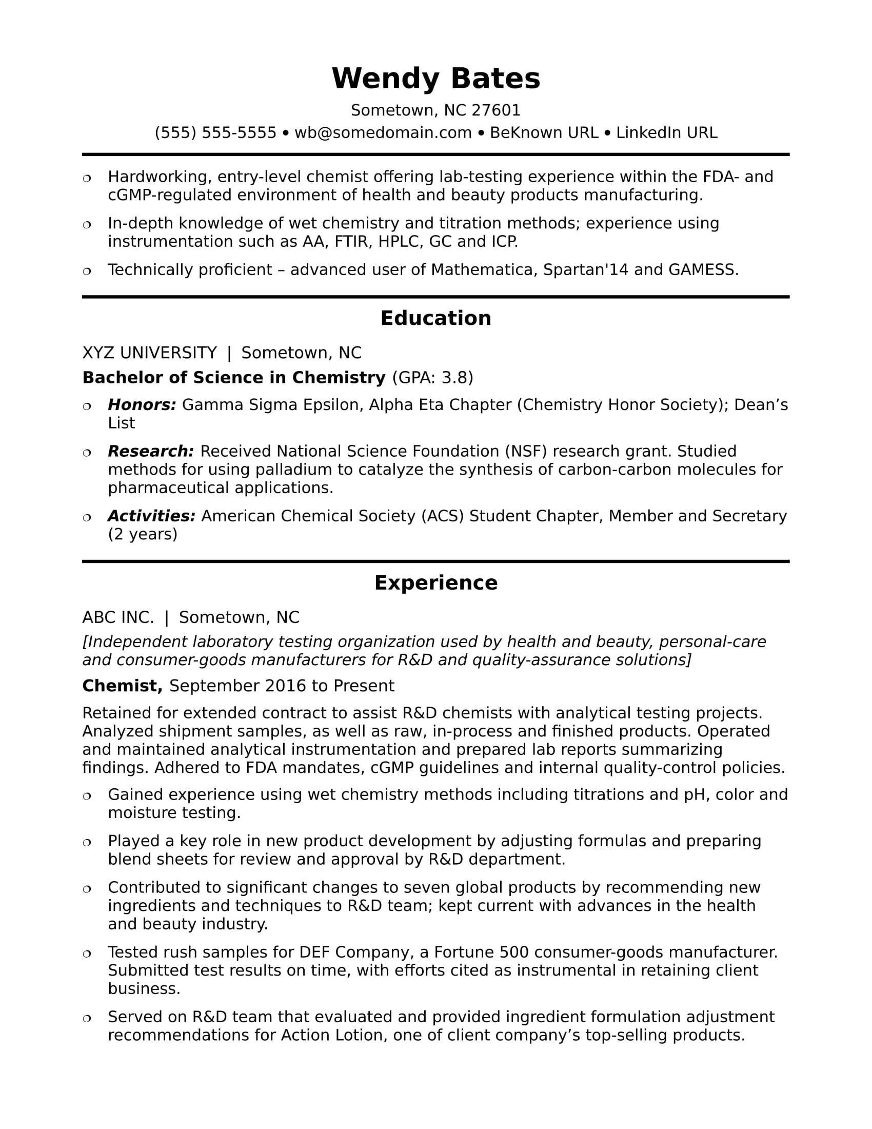 Entry Level Chemist Resume Sample