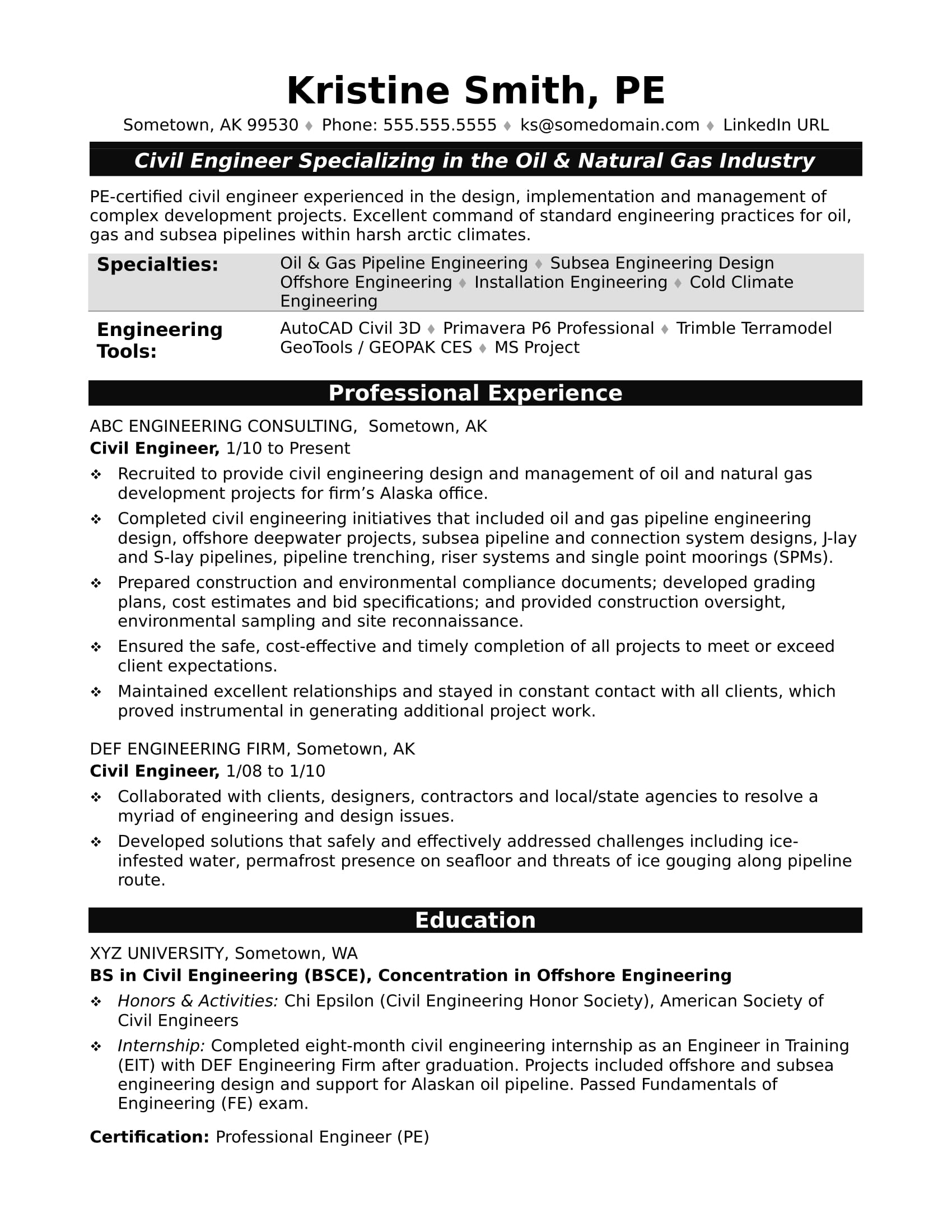 Sample Chemical Engineering Resume Sample Resume For A Midlevel Civil Engineer Monster