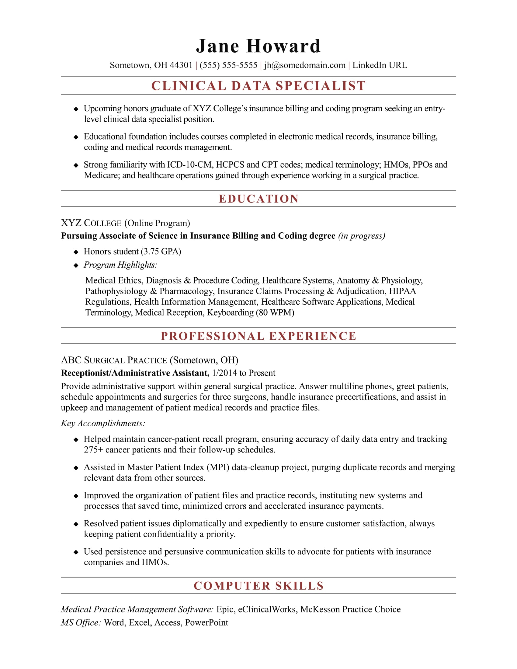 Samples Of Entry Level Resumes Entry Level Clinical Data Specialist Resume Sample Monster