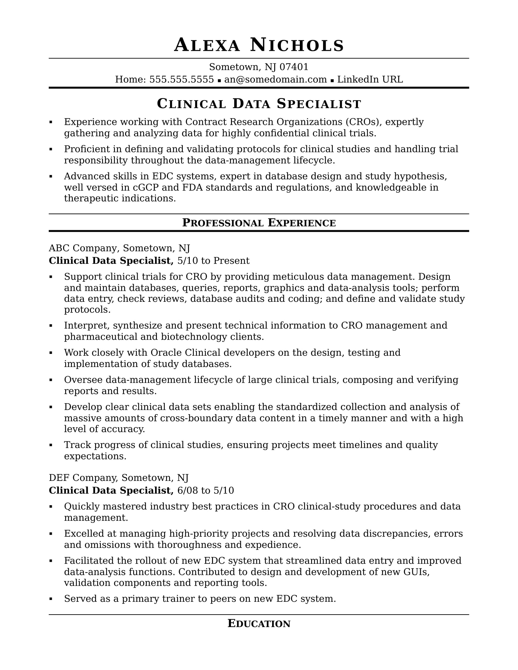 Clinical Resume Examples Clinical Data Specialist Resume Sample Monster