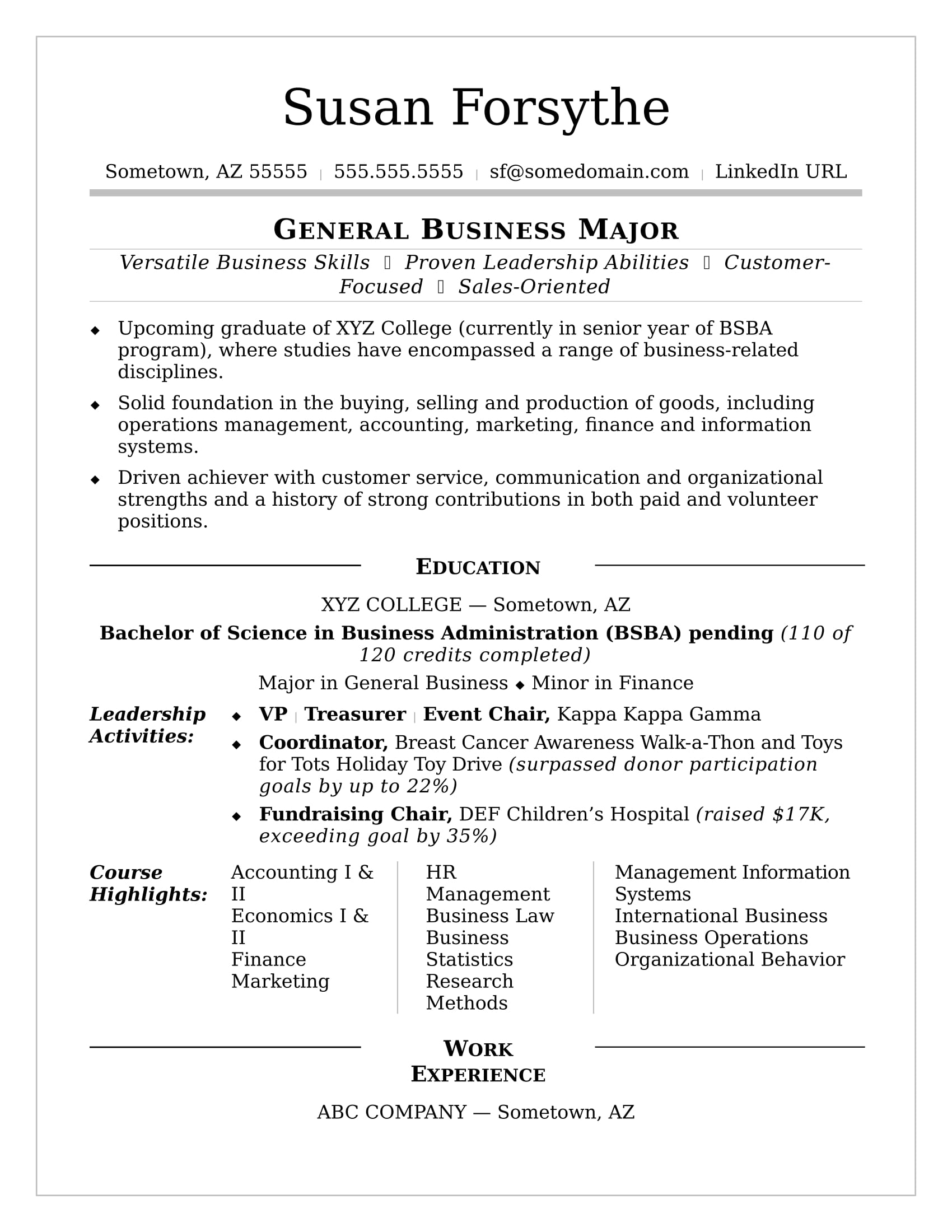 Sample Business School Resume College Resume Sample Monster