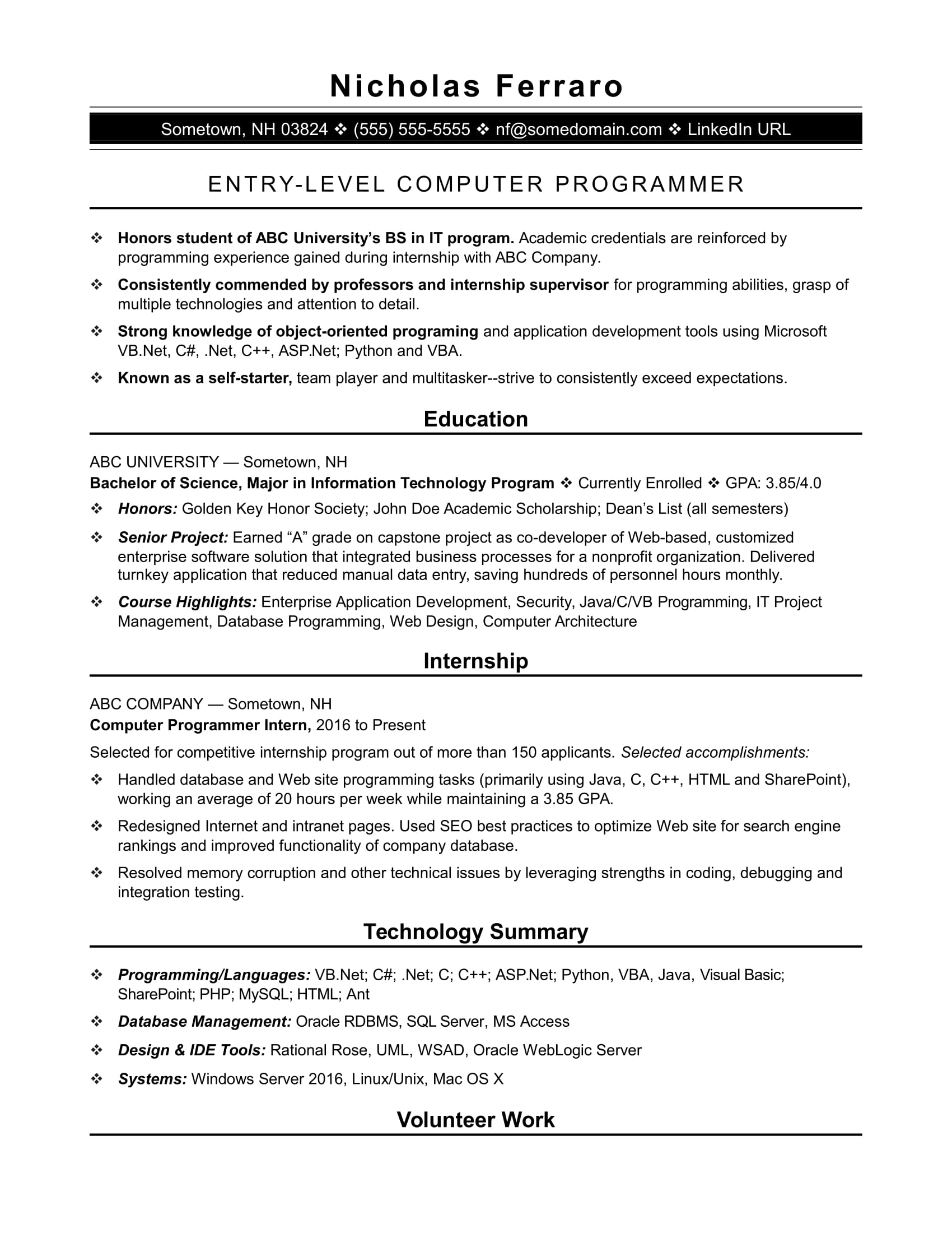 Sample Resume For An EntryLevel Computer Programmer  Monstercom