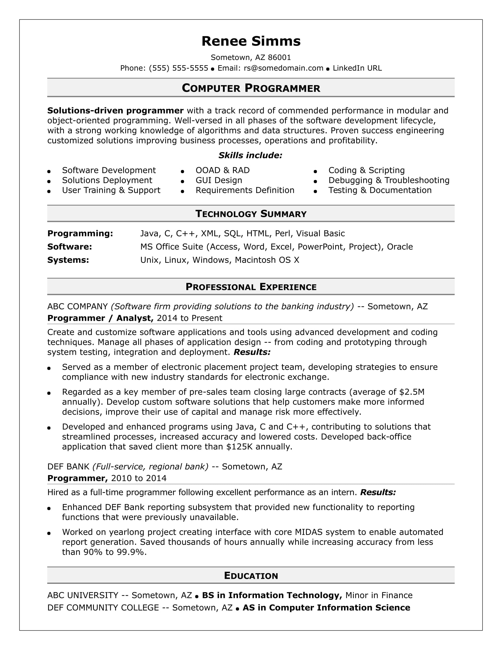 Oracle Financial Functional Consultant Sample Resume Sample Resume For A Midlevel Computer Programmer Monster