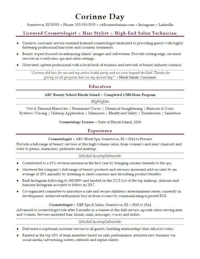 cosmetologist resume sample monster - Sample Cosmetologist Resume