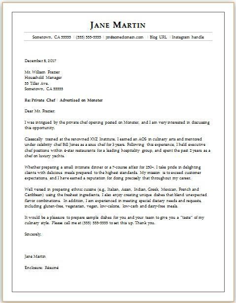 Chef Cover Letter Sample  Monstercom