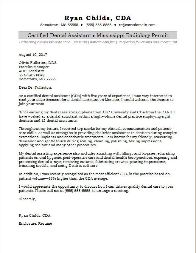 Write cover letter dental assistant position  Insure