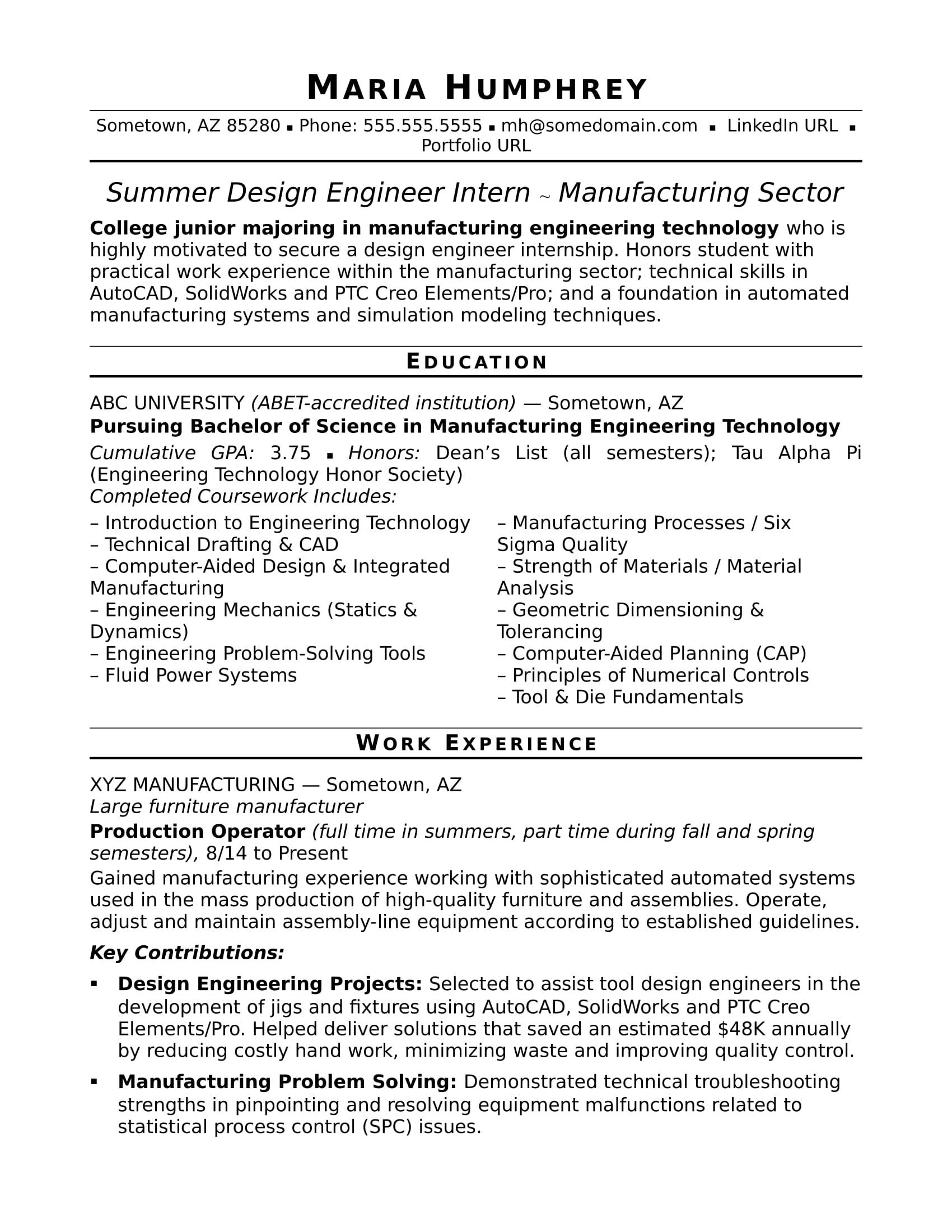 entry level manufacturing engineer sample resume