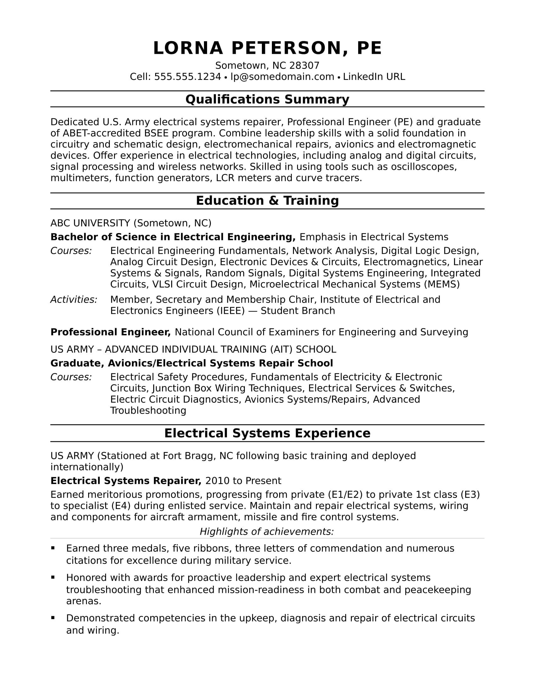 Sample Resume for a Midlevel Electrical Engineer  Monstercom