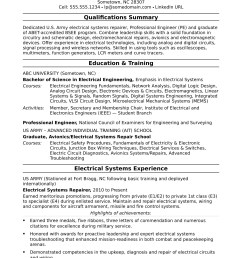 sample resume for a midlevel electrical engineer [ 1700 x 2200 Pixel ]