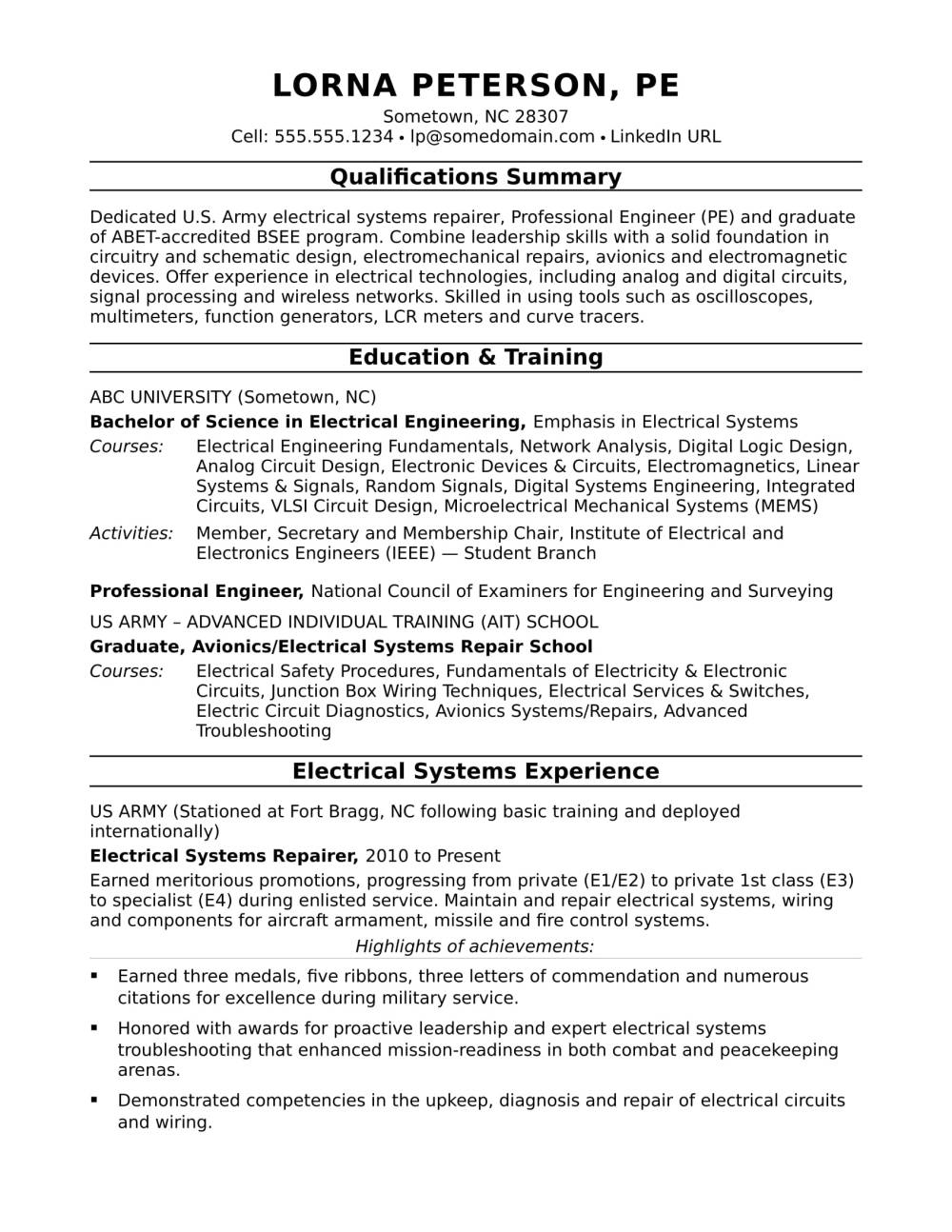 medium resolution of sample resume for a midlevel electrical engineer