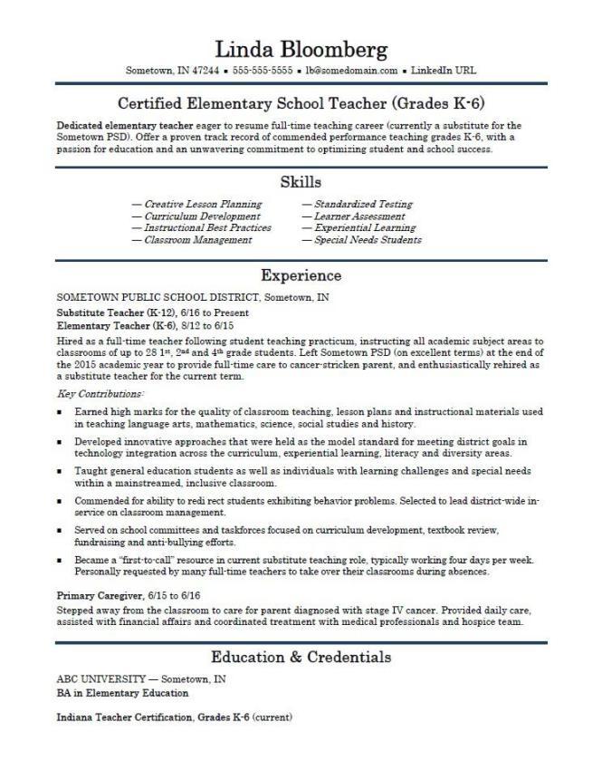 Example Resume For Teacher Resume Sample