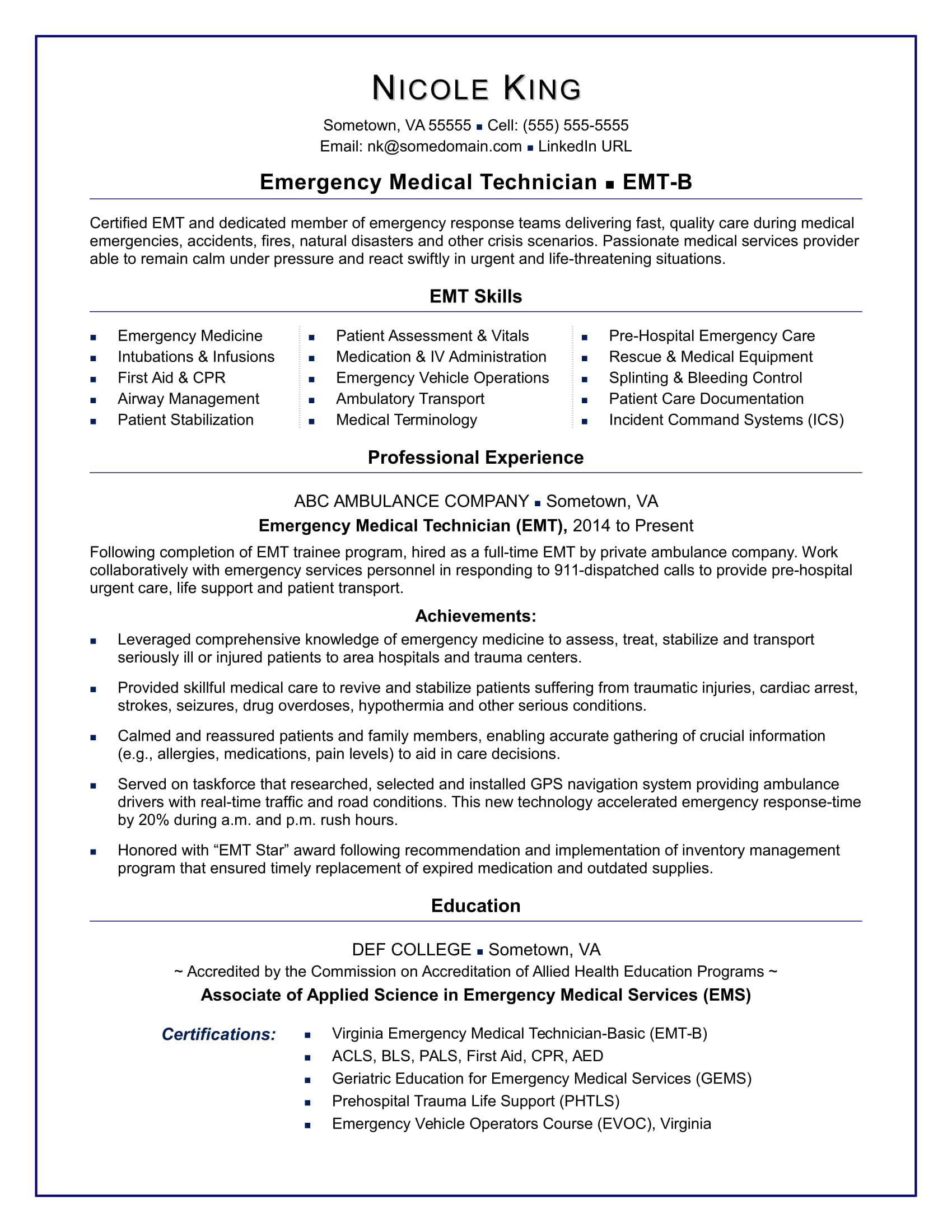 Paramedic Resume Sample Emt Resume Sample Monster