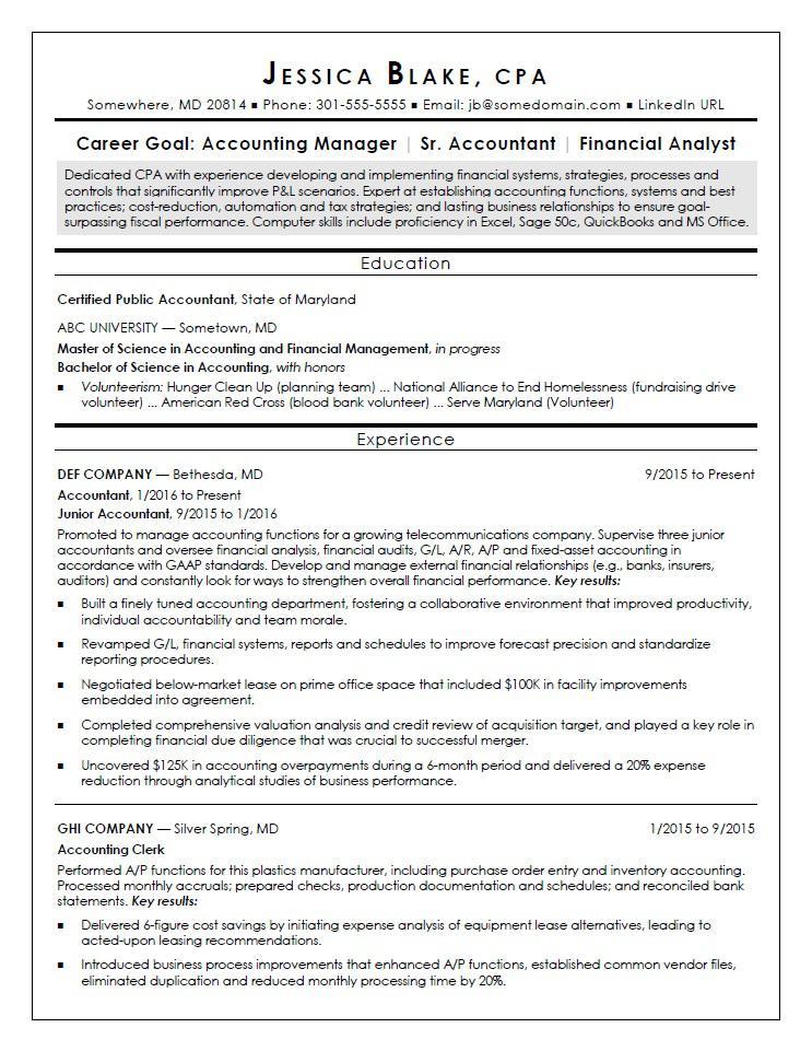 CPA Resume Sample  Monstercom